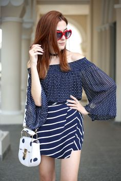 Shoulder summer collection. Polka dots top + striped shorts in navy blue.