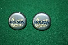 Handcrafted Cuff Links - Molson Beer Cap with 24 ct Gold Plated Posts by Witmer Enterprises, $15.00 at witmerenterprises.com and also @Etsy