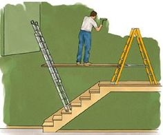 This looks safe. Painting Stair Steps and Staircases - How to Paint Any Interior Surface - Interior & Exterior House Painting. Painting Tips, House Painting, Spray Painting, Painting Walls, Painted Stairs, How To Paint Stairwell, Staircase Walls, Staircase Remodel, Basement Stairs