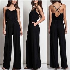 SOLD - HOLD for Jesyka  (2)MIKESA wide leg jumper -BLACK & H. GREY size S Pants Jumpsuits & Rompers
