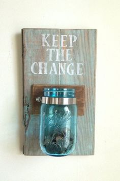 KEEP THE CHANGE Laundry room decor by shoponelove on Etsy. Would be an easy DIY and a really great idea for my laundry room Sharpie Crafts, Diy Crafts, Change Jar, Ideias Diy, Deco Design, Do It Yourself Home, Home And Deco, My New Room, Dollar Stores