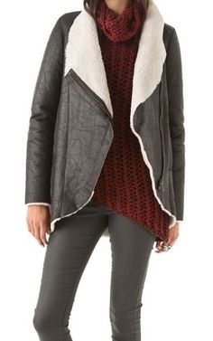 Weathered Shearling leather Jacket, Helmut lang