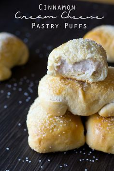 Cinnamon Cream Cheese Pastry Puffs - a copycat version of McDonalds petite breakfast pastries. Made simply with Pillsbury biscuit dough and stuffed with a cream cheese filling. Brunch Recipes, Sweet Recipes, Breakfast Recipes, Köstliche Desserts, Delicious Desserts, Yummy Food, Profiteroles, Eclairs, Cream Cheese Pastry