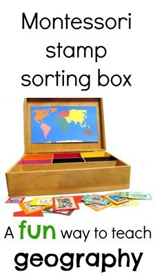 Montessori geography stamp sorting box- using postage stamps to teach geography.