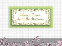 """When in Rome: Annie in the cat eyes cross stitch pattern (10.43"""" x 4.43""""). This item is available for instant digital download at http://etsy.me/1grpwqM"""