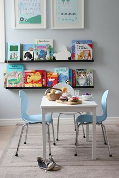 I love these bookshelves - perfect height for kids