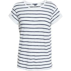 Vince Striped Cotton T-Shirt ($47) ❤ liked on Polyvore featuring tops, t-shirts, shirts, short sleeve, tees, striped t shirt, short sleeve cotton shirts, stripe t shirt, tee-shirt and stripe shirt