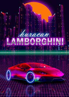 Huracan Lamborghini, Artwork Prints, Poster Prints, Retro Waves, Ali, Profile, Phone, Create, Illustration