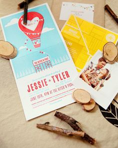 This invitation's lighthearted design gives guests an idea of what's to come. Paired with a map and one of six Polaroid-style photographs from the couple's engagement photo session, the folded invitation was mailed out in a square kraft-paper envelope.