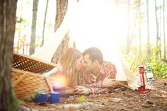 Love these camping themed engagement pictures of one of my best friends! so original