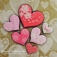 """Flowers on hearts """"シュガーコレクション""""さんの バレンタイン アイシングクッキー フラワーアレンジ 、お料理、ジュエリー etc 赴くままに"""