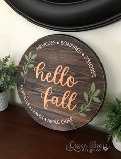 Your place to buy and sell all things handmade : Hello Fall Wood Sign.Welcome Wood Sign. Fall Wood Signs, Fall Signs, Wooden Signs, Fall Decor Signs, Outdoor Wood Signs, Fall Projects, Wood Projects, Welcome Wood Sign, Wood Crafts