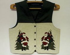 Green Christmas Women Vest Romantic Waistcoat Ugly Sweaters Party Large Size Santa Clause Cotton Gift to Mom