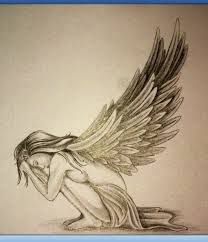 Image result for bowing angel sketch with tall wing