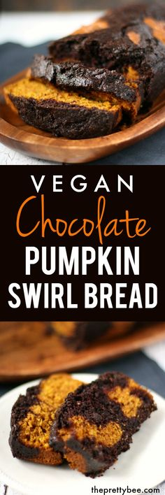 Welcome fall with this delicious vegan chocolate pumpkin swirl bread! So pretty and so delicious!