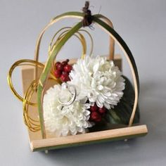 Wedding Ring Pillow Idea. Japanese Style Ring Pillow with Flowers and Bamboo.