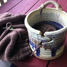 What if you made it basket size, with multiple yarn lanes, and big enough to hold multiple projects? Pottery Pots, Ceramic Pottery, Ceramics Projects, Clay Projects, Ceramic Clay, Ceramic Bowls, Stoneware, Pottery Sculpture, Yarn Bowl