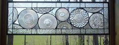This beautiful window is made from vintage crystal plates.