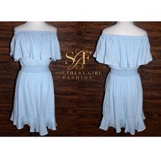 I just discovered this while shopping on Poshmark: SMOCKED DRESS Blue Off Shoulder Ruffled Swing MiniBoutique. Check it out!  Size: Various