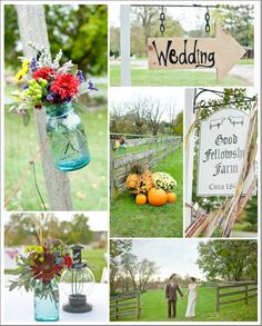 Country Wedding Ideas - sign, mason jars, etc