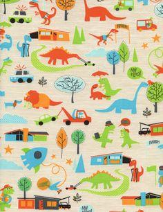 Timeless Treasures - Multi Hero-Saurus Dinosaurs - cotton fabric