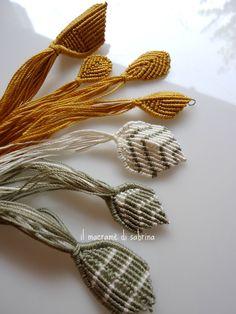 il macramè di sabrina: Foglie a righe per un collier
