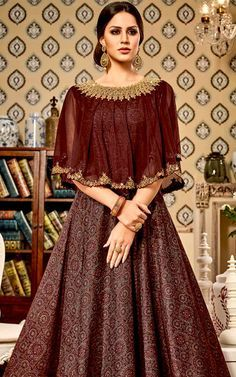 29fe15fa59 Buy Brown Chandan Silk and Soft Net Cape Semi Stitched Salwar Kameez with  Santoon Dupatta for Women Online Shopping at Best Price