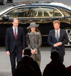 The princes and Kate were seen smiling (pictured) as they arrived at the abbey together th...