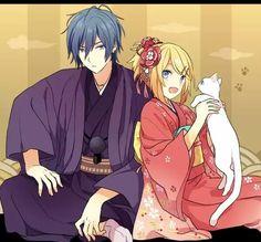 Kaito and Rin by 秋吉 Vocaloid, Kaito Shion, Manga Games, Game Art, Anime, Fans, Kawaii, Cute, Singer
