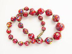 Vintage Red Murano Venetian Beaded Necklace by GrandVintageFinery