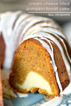 I've found my new pumpkin obsession! More from my sitePumpkin Cream Cheese Bundt Cake ~ Homemade pumpkin bundt cake filled with cream … – Bundt Cake RecipesCream Cheese Filled Pumpkin Bundt Cake Recipe Beaux Desserts, Fall Desserts, Just Desserts, Delicious Desserts, Dessert Recipes, Thanksgiving Desserts, Gourmet Recipes, Cooking Recipes, Pumpkin Bundt Cake