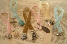 bookmarks velvet ribbon and metal clips from suspenders or scrapbooking