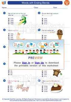 Life Cycle Of A Plant Sequencing Worksheet Excel Learn About Words With Ending Blends Httpsnewpathworksheets  Main Idea Free Worksheets with Year 5 Math Worksheets Word Learn About Words With Ending Blends Httpsnewpathworksheetscom Free Printable Shapes Worksheets Word