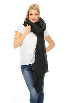 American Vintage - Sciarpe - Abbigliamento - Sciarpa in lino con frange sui bordi. - CARBON - € 45.00