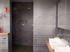 carrelage salle bains gris anthracite mat pose horizontale