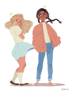 Magisterium: tamara and celia by trueka Illustration Art, Illustrations, Character Illustration, Cute Art Styles, Character Drawing, Character Design Animation, Character Design Inspiration, Pretty Art, Drawing People