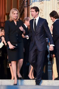 Crown Prince Pavlos of Greece and Infanta Cristina chatted on their way out.