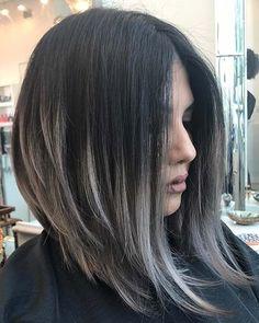 Silvery Gray Highlights for Dark Brown Hair #invertedbob #longbob #grayhair