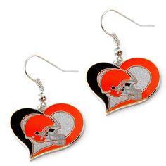 Cleveland Browns Women's Swirl Heart Earings