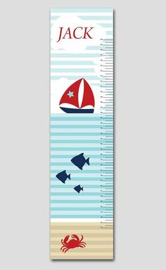 Sail away with this personalized nautical boat and fish growth chart. Would coordinate well with any nautical themed nursery.