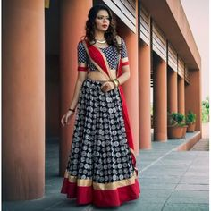Buy Black Crepe Printed Semi Stitched Lehenga online in India at best price.Product Details Crepe Printed Black Semi Stitched Lehenga - Disclaimer : Color of the actual product Garba Dress, Navratri Dress, Choli Dress, Half Saree Designs, Choli Designs, Lehenga Designs, Indian Bridal Lehenga, Indian Bridal Fashion, Indian Dresses