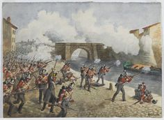British; 27th Inniskilling Regiment at Toulouse, 10 April 1814. Watercolour by Richard Simkin, 1900 (c). The Battle of Toulouse was the last major engagement of the Peninsular War (1808-1814) and took place four days after Napoleon's surrender to the nations of the Sixth Coalition. The Marquess of Wellington and Marshal Soult did not know that the war was over when they fought the battle as news of the Emperor's abdication had not reached them.