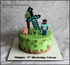 Awesome Minecraft birthday cake topped with steve, creeper a pig and the iconix sword. Made by Queen of Cakes - Perth Awesome Minecraft birthday cake topped with steve, creeper a pig and the iconix sword. Made by Queen of Cakes - Perth Minecraft Torte, Minecraft Pasta, Minecraft Birthday Cake, Easy Minecraft Cake, Minecraft Crafts, Minecraft Skins, Zombie Birthday Cakes, Birthday Cake Kids Boys, Cool Birthday Cakes