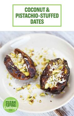 Coconut pistachio stuffed dates