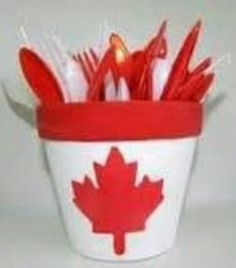 Canada Day flower pot Craft For Kids!