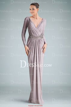 Elegant V-neckline Long Sleeve Evening Dress Holding Applique and Pleats