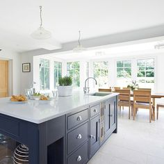 Modern kitchen diner with grey island | Kitchen design ideas | PHOTO GALLERY | Beautiful Kitchens | Housetohome