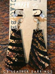 Loving the golden tiger stripes! Lightweight genuine leather earrings that are always nickel free and cut by hand! Available for an unbeatable price from CB Leather Earrings!