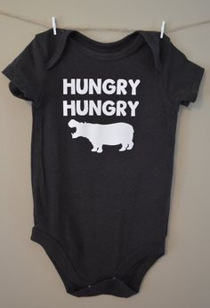 45122cd6b27 Hungry Hungry Hippo baby onesie Cute funny by EclecticBadger Baby Onesie