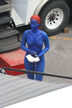 Jennifer Lawrence Blue Birthday Suit Mystique Set Images for X-Men: Days of Future Past